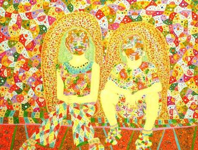 """""""Anjos Mestiços"""" 2004 100 x 130 cm  acrílica s/ tela"""