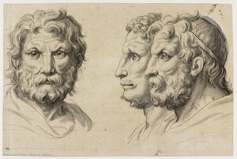 Charles Le Brun, Três cabeças de homens em relação ao Leão, 1690. 21,7 x 32,7 cm. Museu do Louvre, Paris.