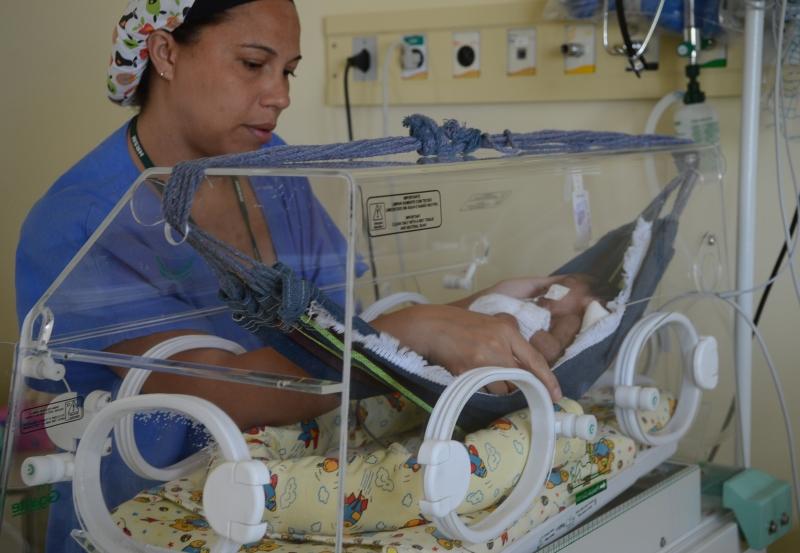 Bebê, rede, hospital, enfermeira