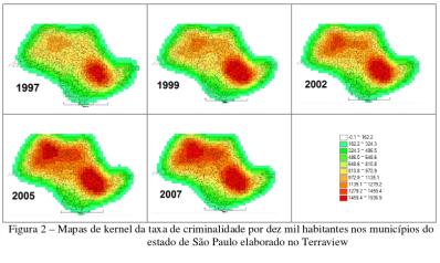 Mapas de kernel das taxas de criminalidade