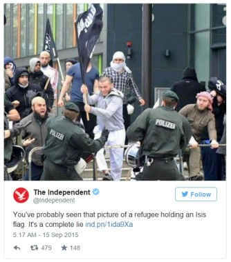 Imagem falsa denunciada na internet. Bandeira do Isis em briga com muçulmanos na Alemanha